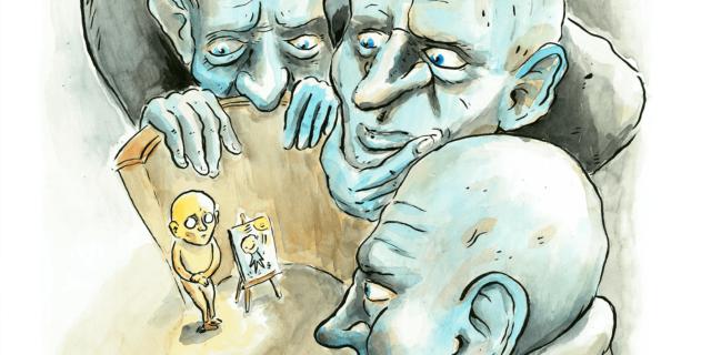 Drie figuren, een klein figuur, een soort rechtbank, iets uit een verhaal van Kafka