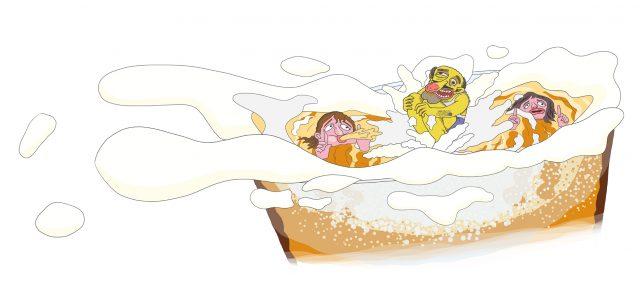 Illustratie van dronken vader die een bommetje doet in een bierglas