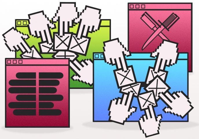 Illustratie met vingers die op een stemknop klikken