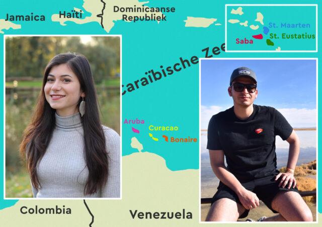 Een foto van Dillon en Isabelle tegen de achtergrond van het caribisch gebied