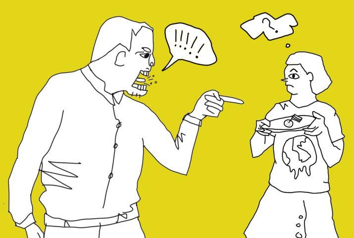 Cartoon van man die iemand met een bitterbal uitscheldt