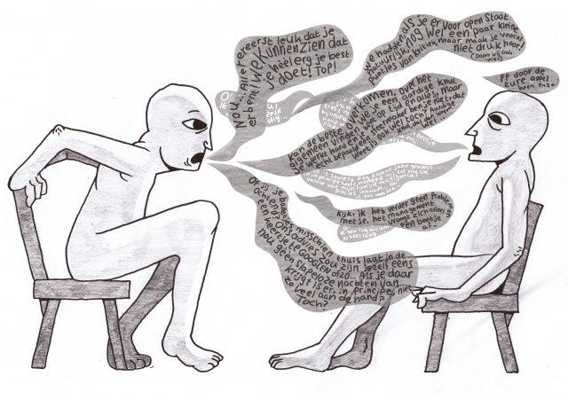 illustratie van twee studenten die elkaar feedback geven