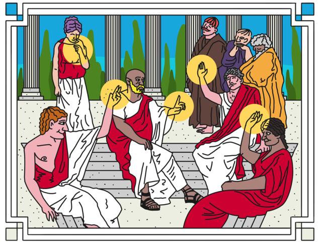 Illustratie van Romeins gezelschap dat discussieert