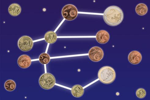Sterrenbeeld gemaakt van euromunten