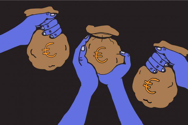 illustratie van handen die zakken geld vasthouden