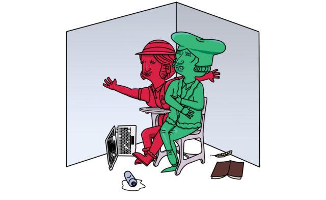 Illustratie rood en groen figuren