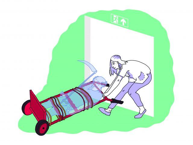 Illustratie van een verpleegkundige die magere hein op een karretje over de drempel rijdt