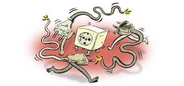 Illustratie van stekkers die achter 1 stopcontact rennen