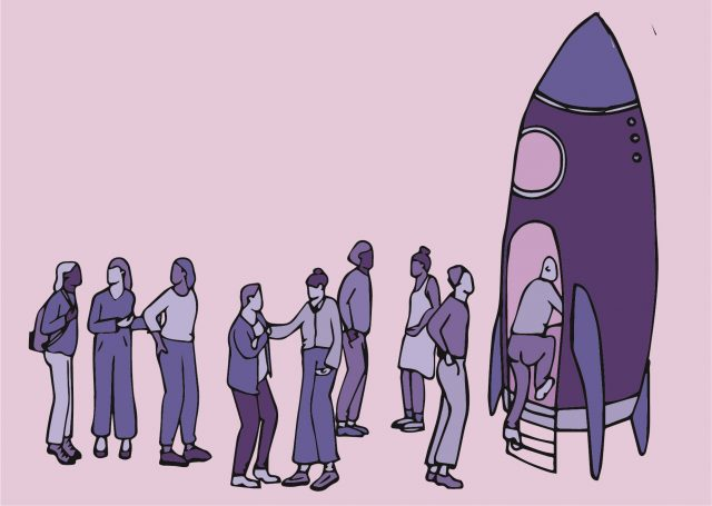 Illustratie waarop personen in de rij staan om in een soort ruimtecapsule te stappen.