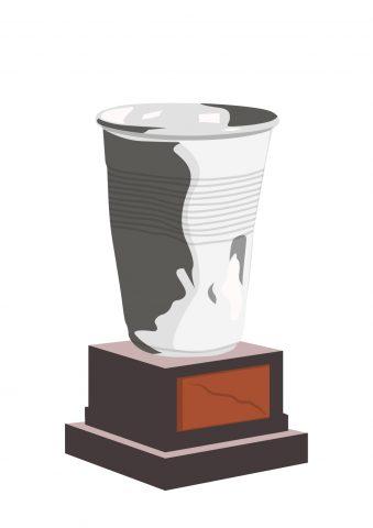 Illustratie van een wedstrijdbeker, maar deze is een plastic bekertje