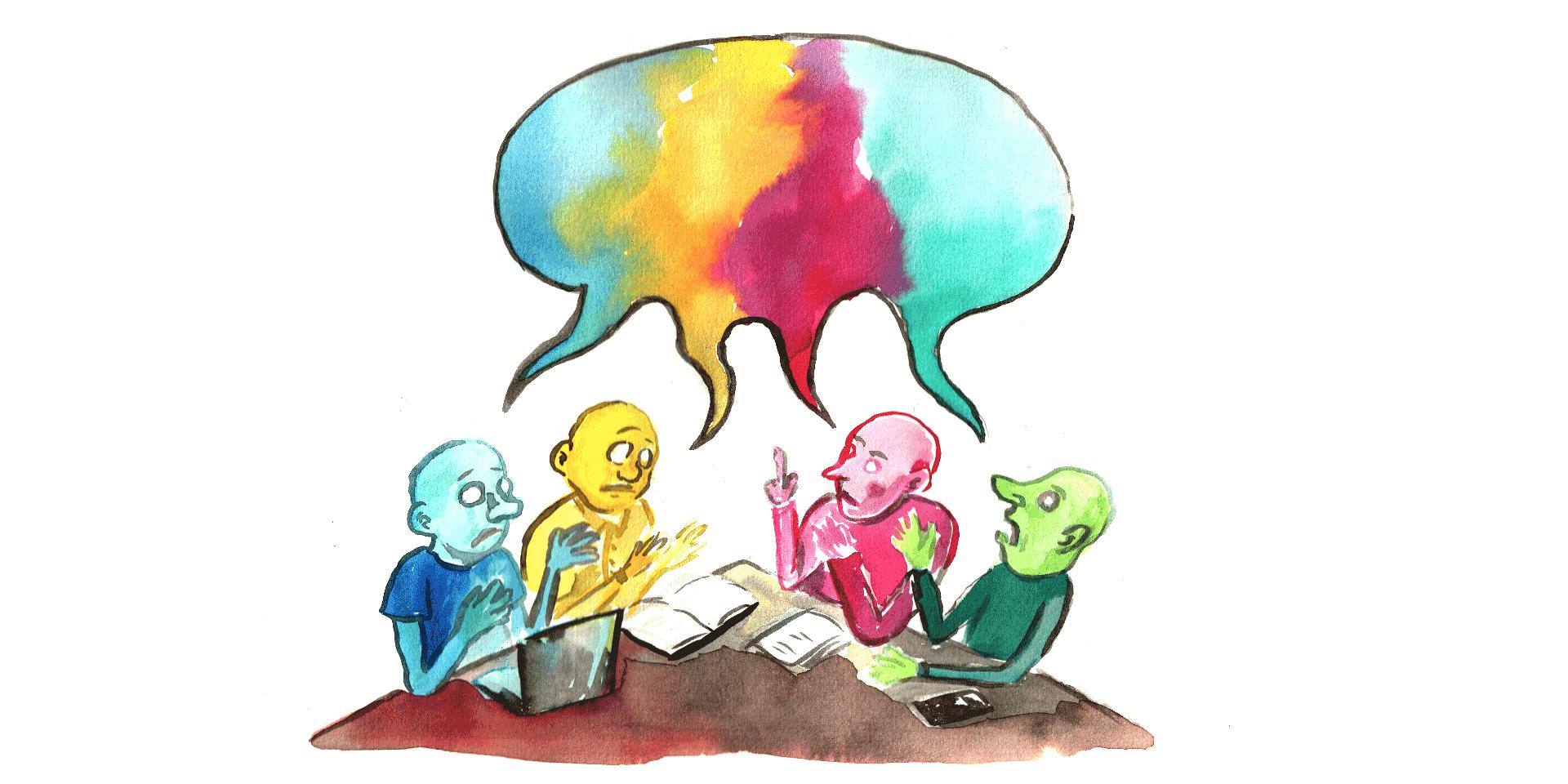 Gekleurde figuren hebben een discussie.