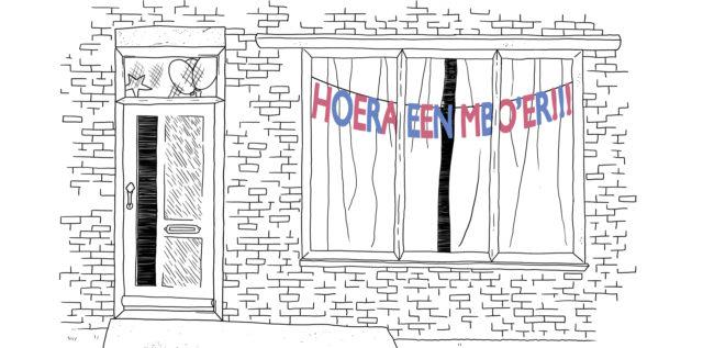 Illustratie van zwart wit huis met kleuren letter slinger met tekst: Hoera een MBO'er erbij!