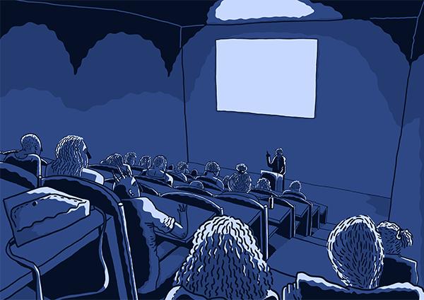 Illustratie van een lezing in een collegezaal