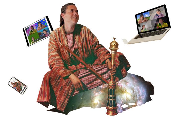 Collage van teams goeroe Ralf Hillebrand omringt met zwevende laptops, tablets en telefoons.