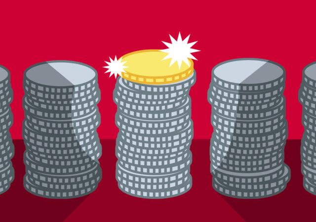 illustratie van een stapel zilveren munten met een gouden munt bovenop
