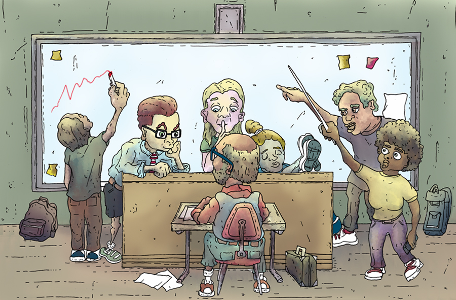 Illustratie van een klas met 1 leerling: de docent