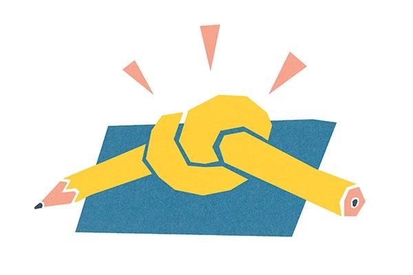 Illustratie van Job Bos. Potlood met knoop erin, als symbool van studeren met een beperking.