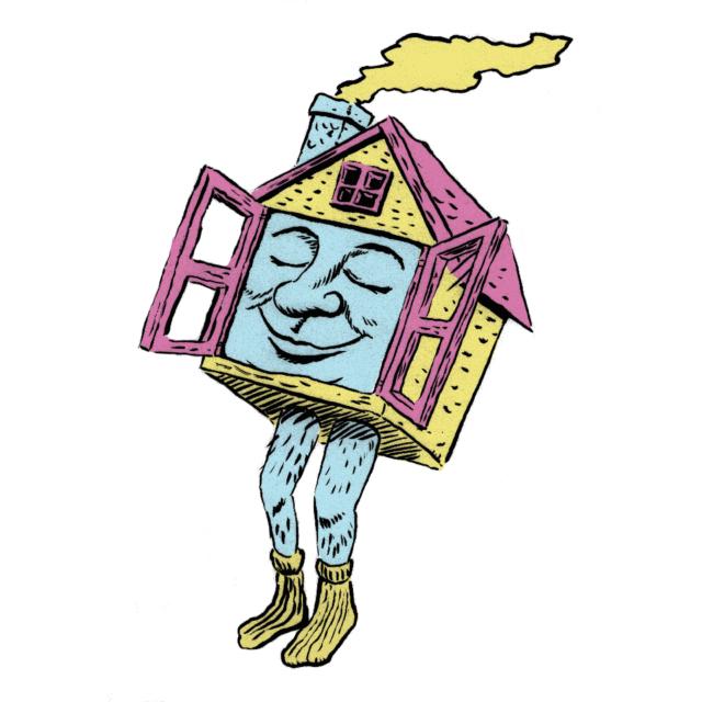 Een huisje met een trots gezicht.
