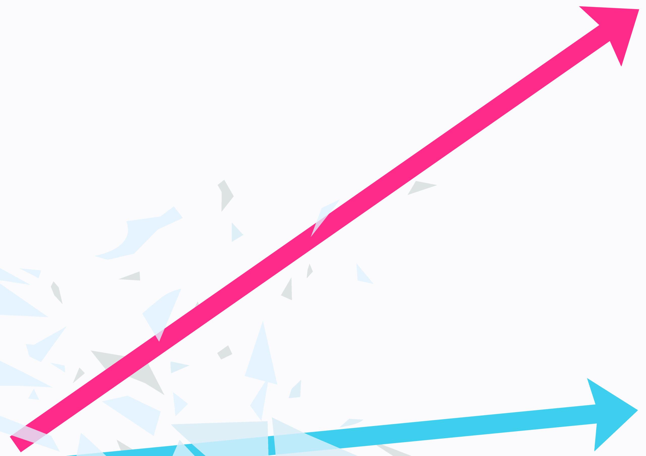 een stijgende rozelijn en een gelijkblijvende blauwe lijn