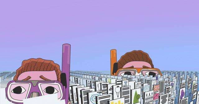 Illustratie van 2 hoofden met snorkel en duikbril tussen verschillende documenten
