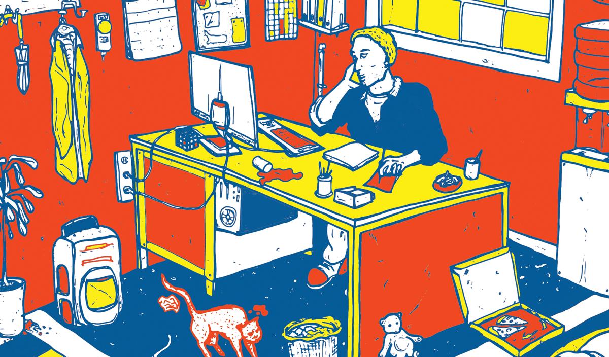 ZZP illustratie - man achter rommelig bureau