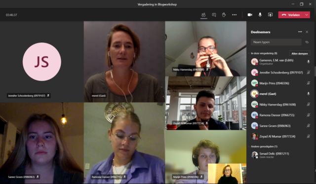 Screenshot van de workshop in de teams-app