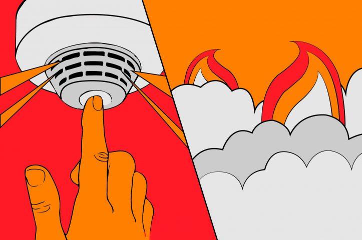 illustratie van een brandalarm, fik, ontruiming, vlammen