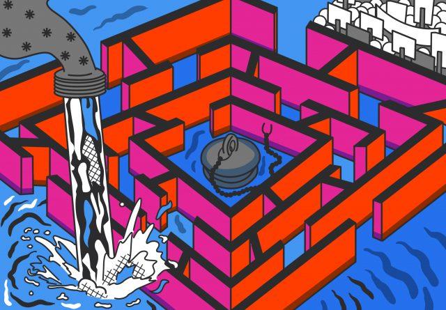 Illustratie van een doolhof waar water instroomt