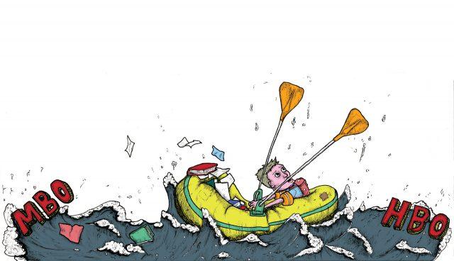 illustratie van mannetjes in een roeibootje op een hard stromende rivier