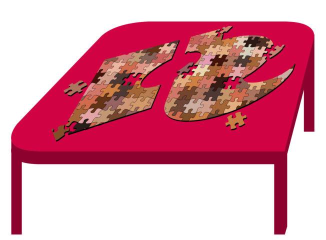 het logo van de hr opgebouwd uit puzzelstukjes met allerlei tinten huidskleur