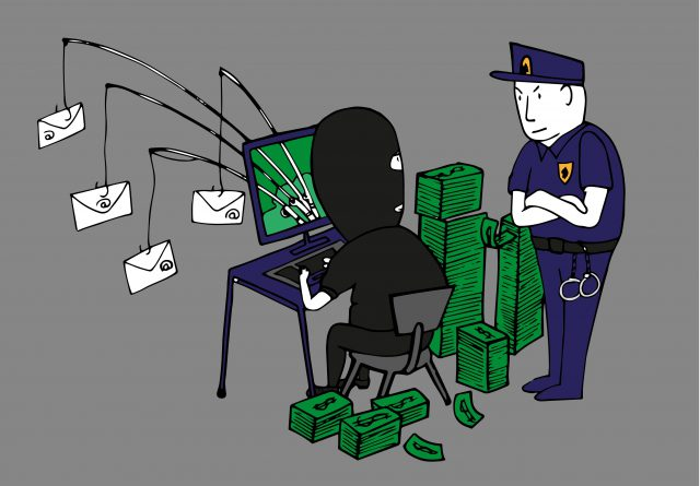 Illustratie van een hacker met een politieagent achter zich