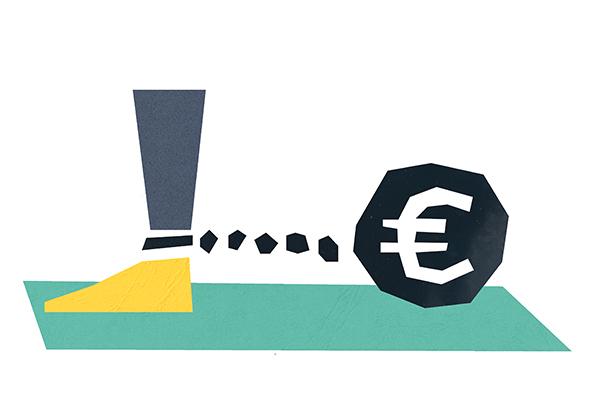 Een zware bal met een euroteken erop, vastgebonden aan een been