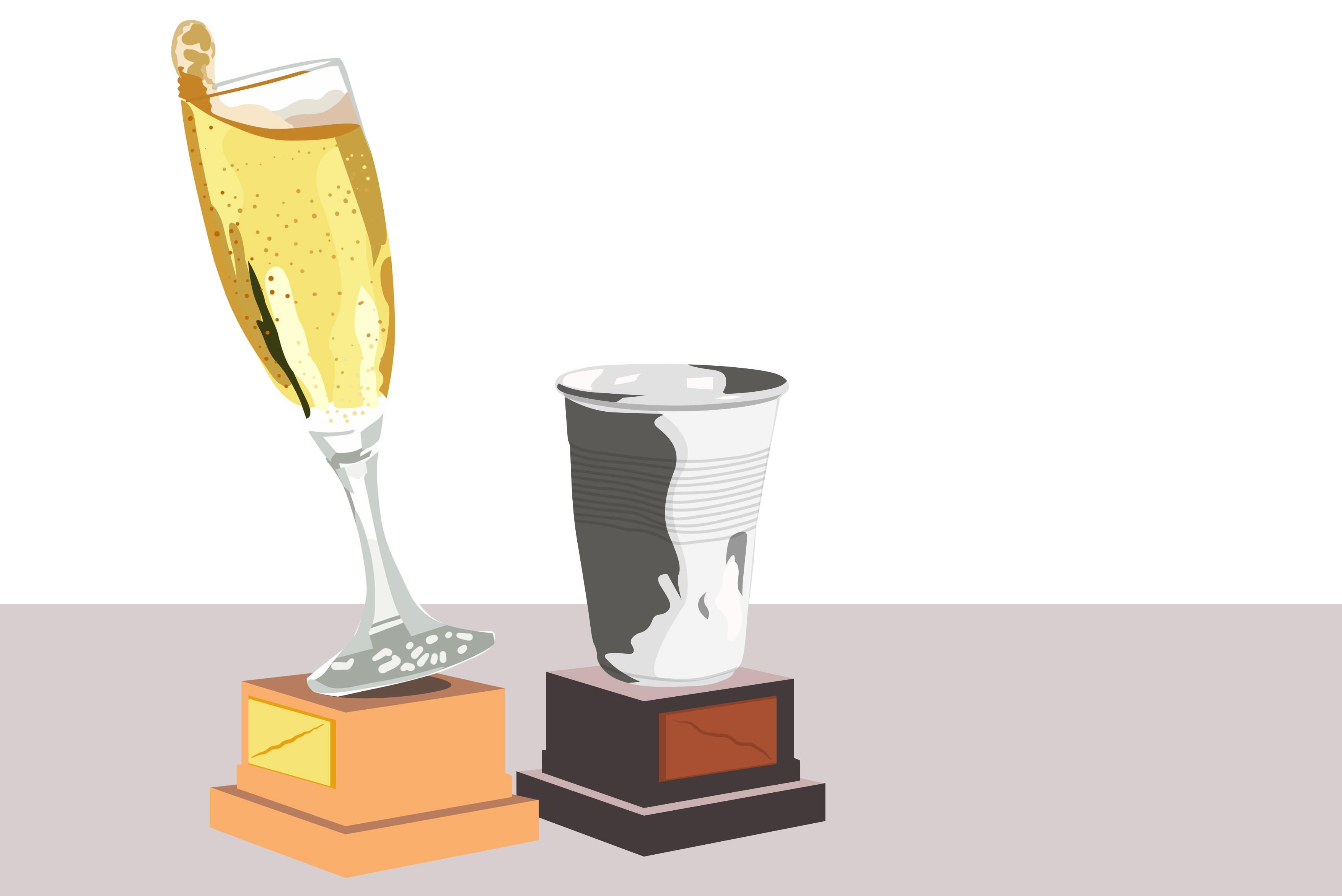 Illustratie van twee trofeën, de eerste is een champagneglas, de tweede een plastic bekertje.