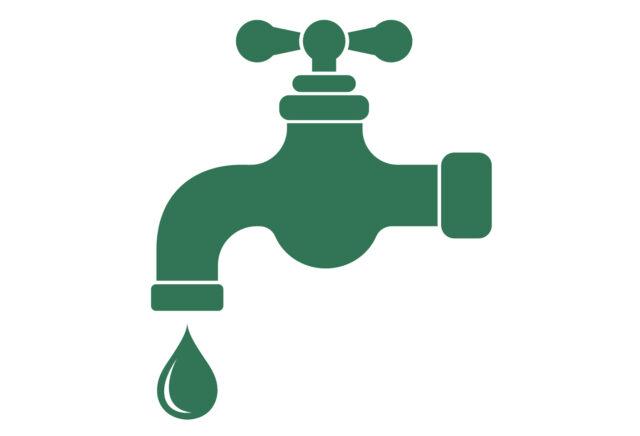 Getekende, groene kraan met een waterdruppel.
