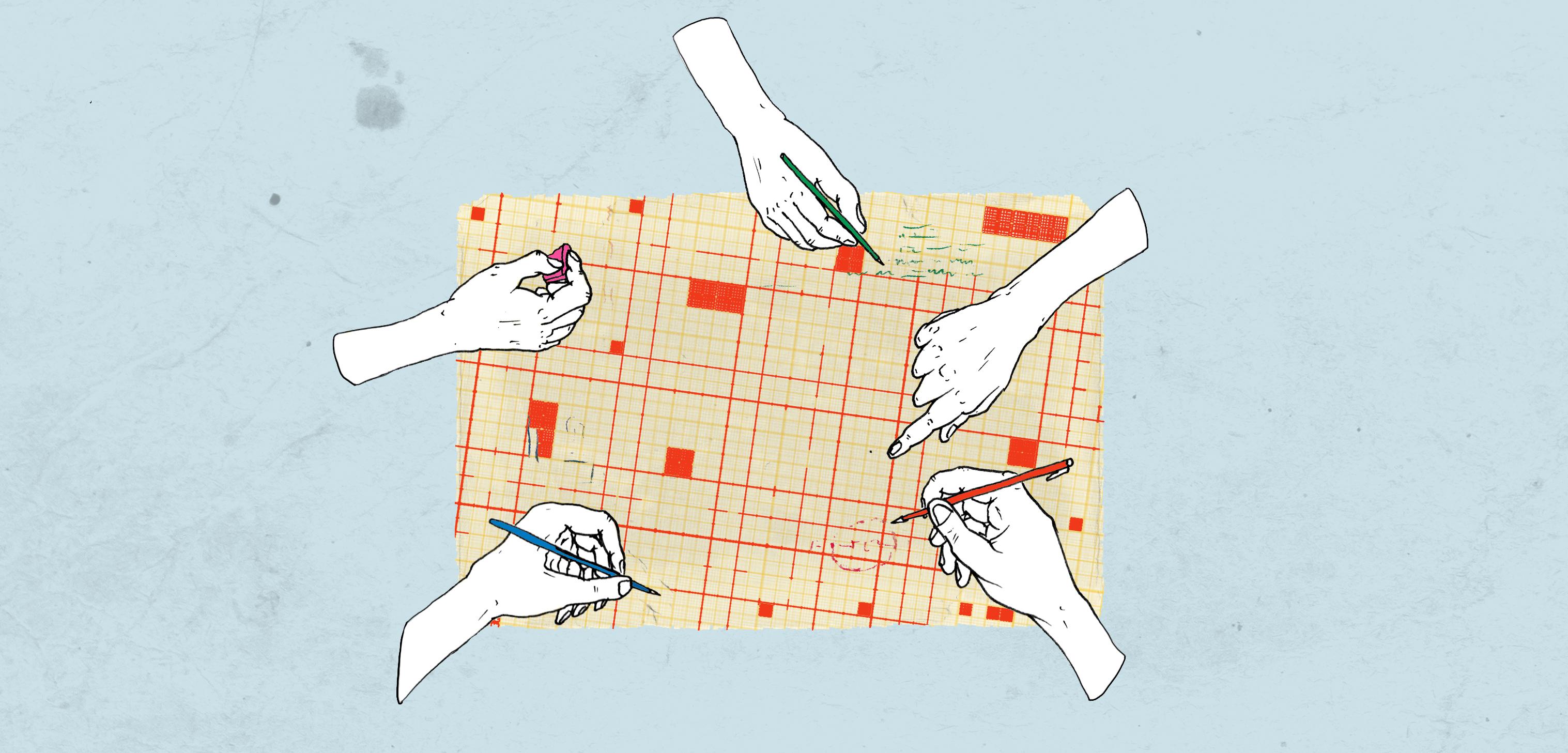 Illustratie van 5 handen die samenwerken op een paper