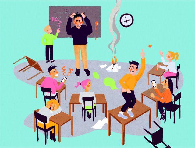 Illustratie van een klas in complete chaos