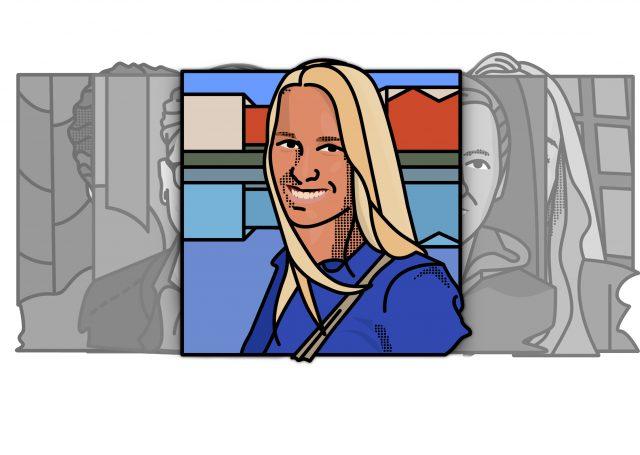 geillustreerd portret van verloskundestudent Geke