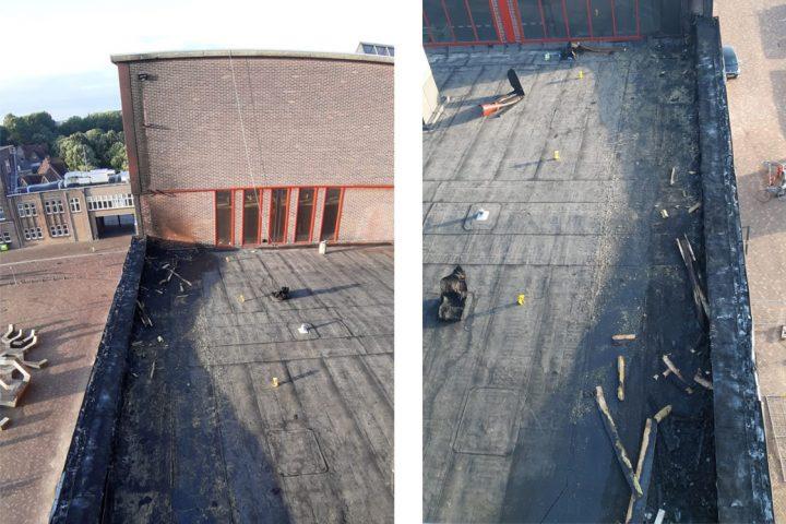 Twee foto's waarop zwarte roetplekken op het dak te zien zijn