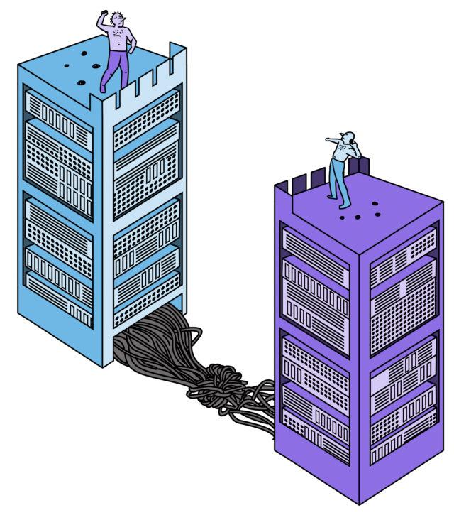 Illustratie van twee grote servers, een paars het andere blauw. beide met een mannetje boven op