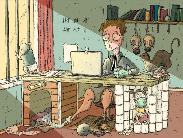 Man achter geimproviseerd bureau in chaotische situatie