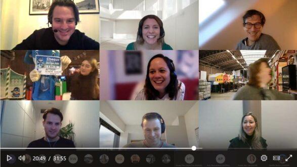 De feestelijke bekendmaking van de opbrengst in een online meeting.