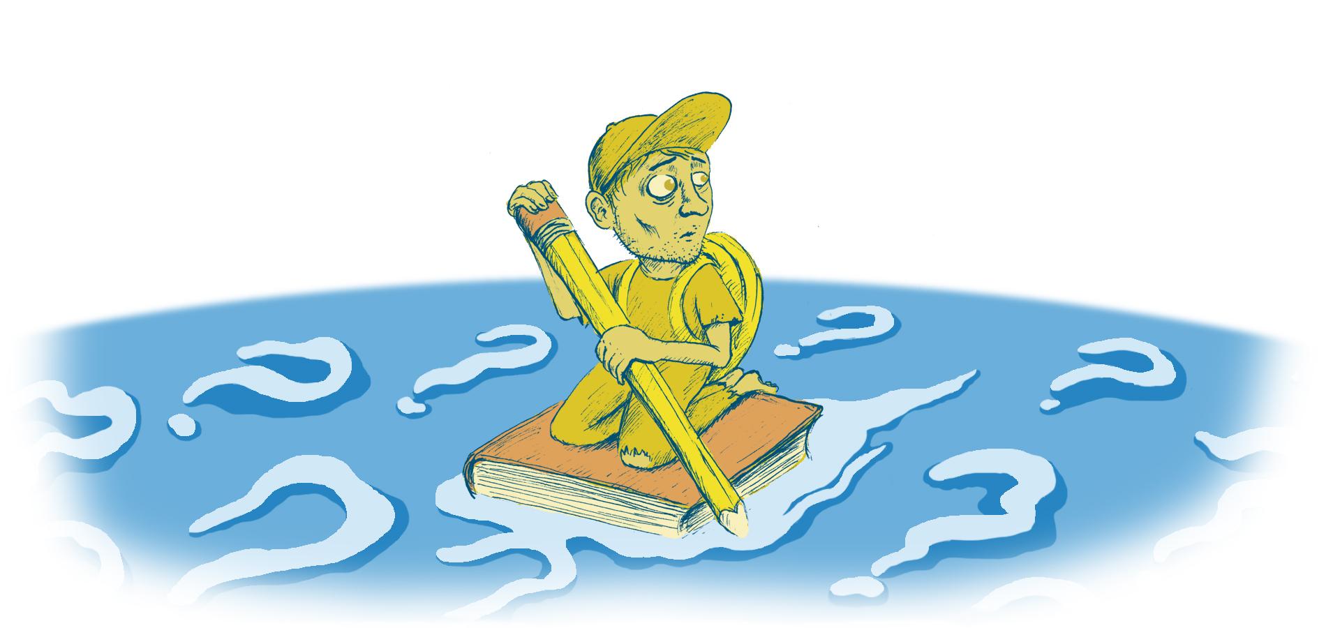 Een student, op zoek naar een onderzoeksvraag, doolt rond op zijn scriptie over een oceaan vol vraagtekens.